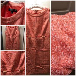 Coral and White sleeveless Tahari dress size 14
